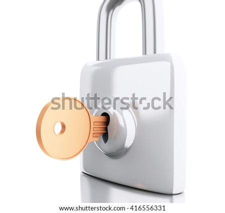 3d renderer image. Padlock with key. Security concept. Isolated white background. - stock photo