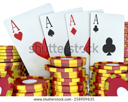 3d renderer image. Red casino tokens and Playing Cards. Casino concept - stock photo
