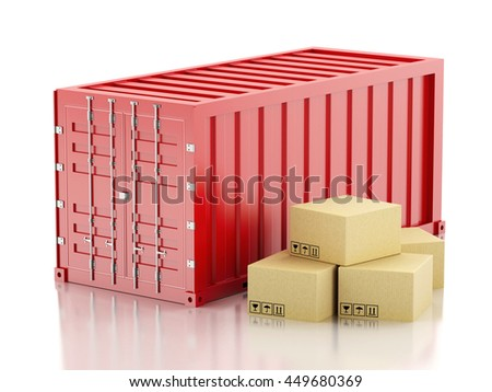 3d renderer image. Red container with cardboard boxes. Industry concept. Isolated white background.