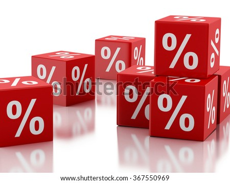 3d renderer image. Red discount cubes. Sale concept. Isolated white background - stock photo