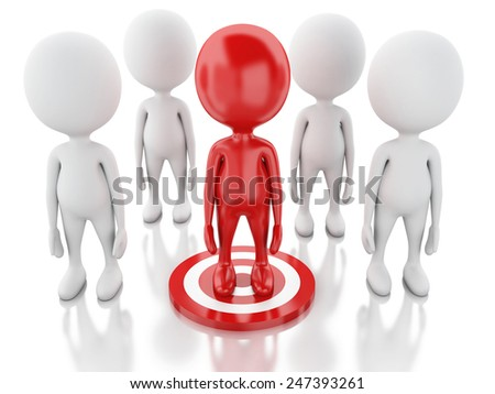 3d renderer image. Red man on target. Business leadership success concept. Isolated white background