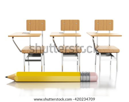 3d renderer image. School chairs and pencil. Education concept. Isolated white background.