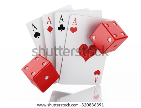 3d renderer image. Set of playing card with dices. Casino concept, isolated white background. - stock photo