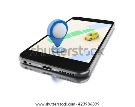 3d renderer image. Smartphone with a map, a car and map pointer. Navigation concept. Isolated white background.