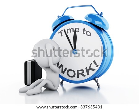 3d renderer image. Stressed white people with alarm clock. Business concept on white background - stock photo