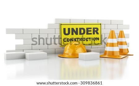 3d renderer image. Traffic cones, Helmet and brick wall. Under construction concept. Isolated on white background - stock photo