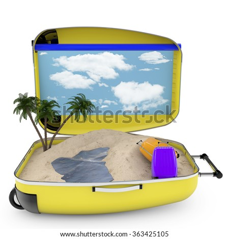 3d renderer image. travel suitcase. Beach vacation concept. Isolated white background - stock photo