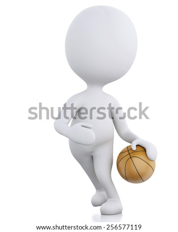 3d renderer image. White basketball player with ball. Isolated white background - stock photo