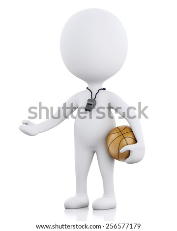 3d renderer image. White people. Basketball coach with ball. Isolated white background - stock photo