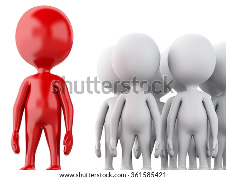 3d renderer image. White people, business team with the red leader. Business concept. Isolated white background - stock photo