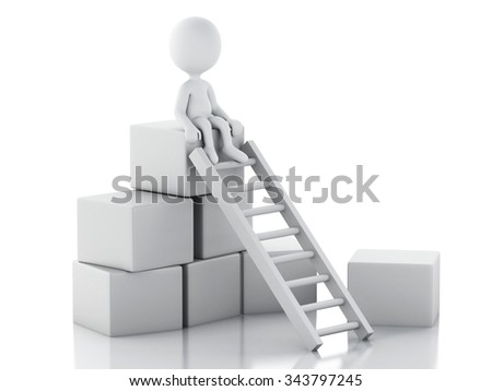 3d renderer image. White people climbing ladders to get to the top. Success concept. Isolated white background