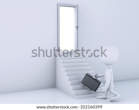 3d renderer image. White people climbing up on staircase to the open door. Business concept - stock photo