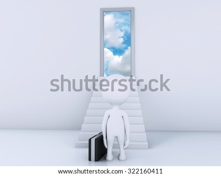 3d renderer image. White people climbs the ladder to the doors of heaven. Free concept - stock photo