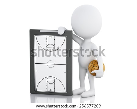 3d renderer image. White people coach with basketball clipboard and ball. Isolated white background - stock photo