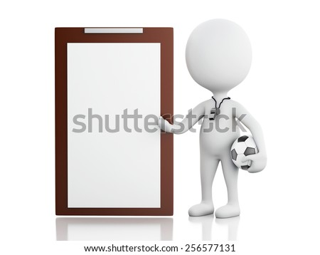 3d renderer image. White people coach with Clipboard and soccer ball. Isolated white background - stock photo