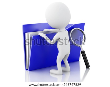 3d renderer image. White people examines blue folder. Isolated white background - stock photo