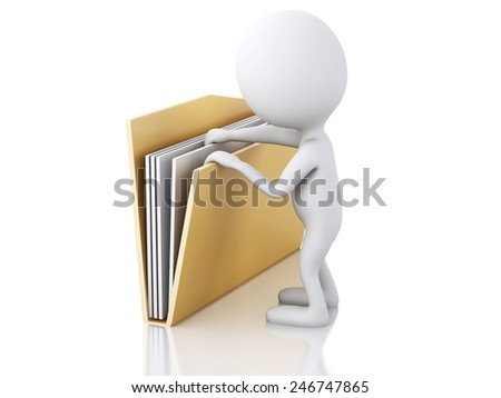 3d renderer image. White people examines yellow folder. Isolated white background - stock photo