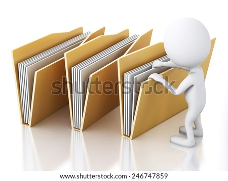 3d renderer image. White people examines yellow folders. Isolated white background - stock photo