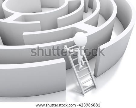 3d renderer image. White people in a maze with white stairs. Challenge and business concept. Isolated white background. - stock photo