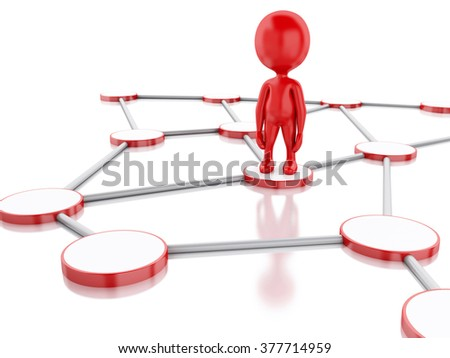 3d renderer image. White people in social network. Isolated white background.