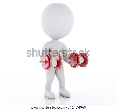 3d renderer image. White people lifting heavy weights. gym concept. Isolated white background
