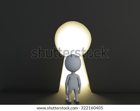 3d renderer image. White people looking through keyhole. Success concept - stock photo