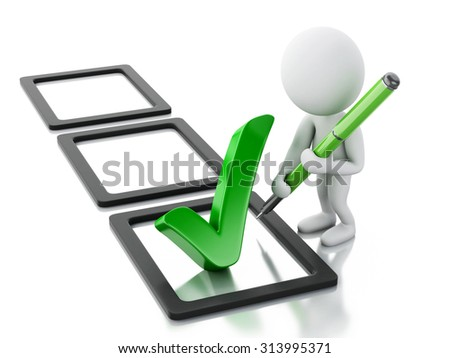 3d renderer image. White people marking ticks with green mark in the checklist. Isolated white background - stock photo