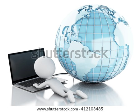 3d renderer image. White people relax with laptop and network globe. Network Communications concept. Isolated white background.