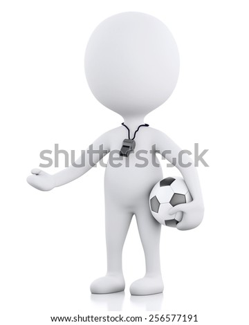 3d renderer image. White people soccer coach with soccer ball. Isolated white background - stock photo