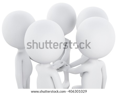 3d renderer image. White people, team work. Business concept. Isolated white background.