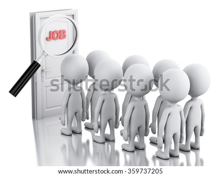 3d renderer image. White people waiting for job interview. Business concept. Isolated white background