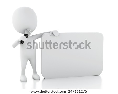 3d renderer image. White people with a blank speech bubble. Communication concept. Isolated white background - stock photo