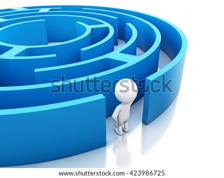 3d renderer image. White people with a blue maze. Success challenge. Isolated white background.