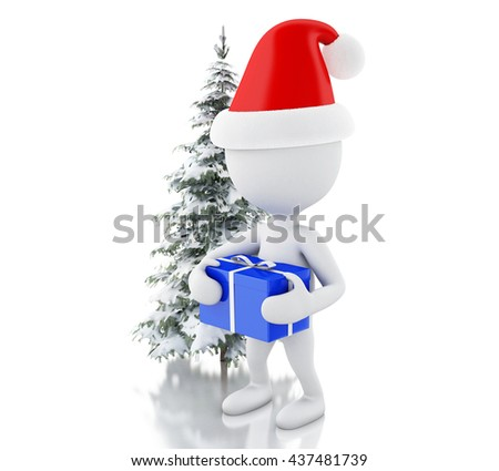 3d renderer image. White people with blue gift box and Christmas tree in fresh snow. Christmas concept. Isolated white background.