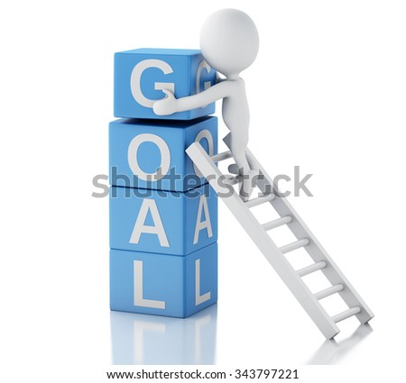 3d renderer image. White people with cubes with word goal. Business concept. Isolated white background - stock photo