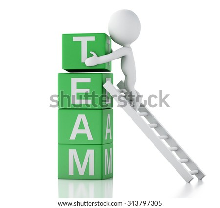 3d renderer image. White people with cubes with word team. Business concept. Isolated white background - stock photo