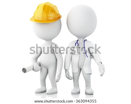 3d renderer image. White people with different professions. Doctor and constructor. Isolated white background - stock photo