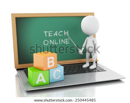 3d renderer image. White people with laptop pc. Online education concept. Isolated white background - stock photo