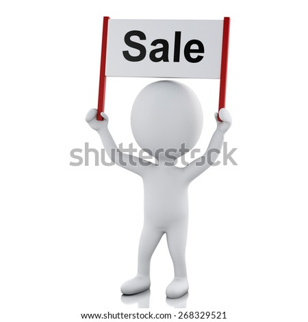 3d renderer image. White people with sign board banner. Sale concept. Isolated white background - stock photo