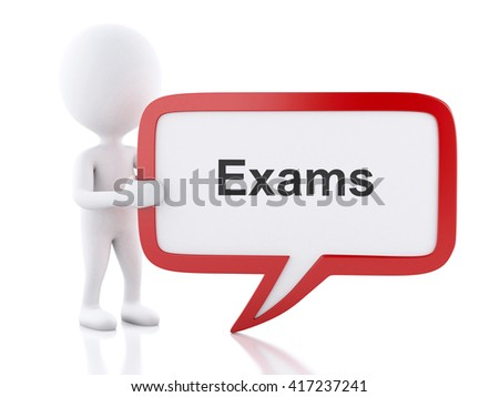 3d renderer image. White people with speech bubble that says Exams. Education concept. Isolated white background. - stock photo