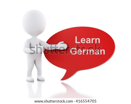 3d renderer image. White people with speech bubble that says Learn German. Education concept. Isolated white background. - stock photo