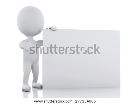 3d renderer image. White person with blank board, Isolated over white background