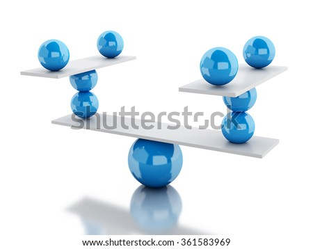 3d renderer image. White spheres in equilibrium. Isolated white - stock photo