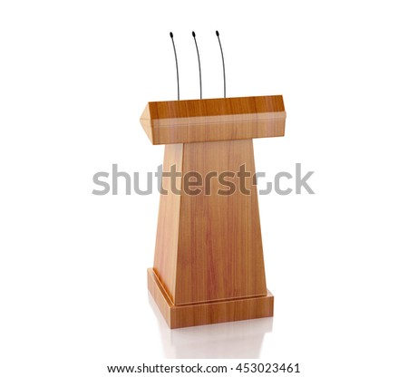 3d renderer image. Wooden podium with microphones. Isolated white background. - stock photo