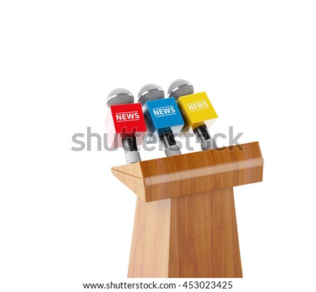 3d renderer image. Wooden podium with news microphones. Isolated white background. - stock photo