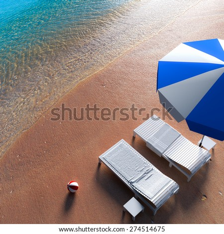 3d rendering a beach chair relaxing on the beach. - stock photo