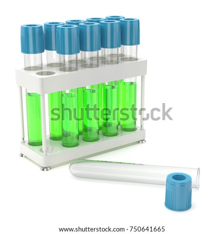 3D rendering a set of chemical utensils filled with pure green liquid
