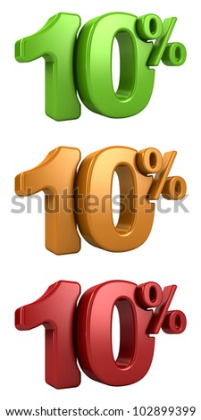 3D rendering a set of 10 percent in red, yellow and green letters on a white background - stock photo