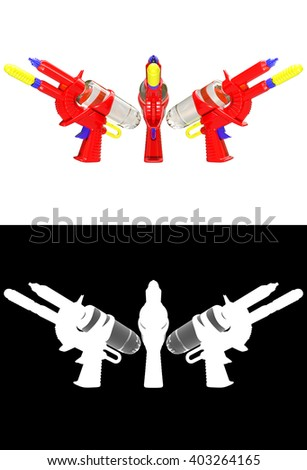 3D rendering a set of Water gun isolated on white background with alpha channel. - stock photo