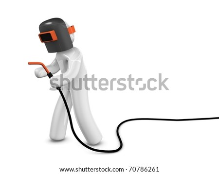 3d rendering; A welder concept image. Isolated on white background. - stock photo
